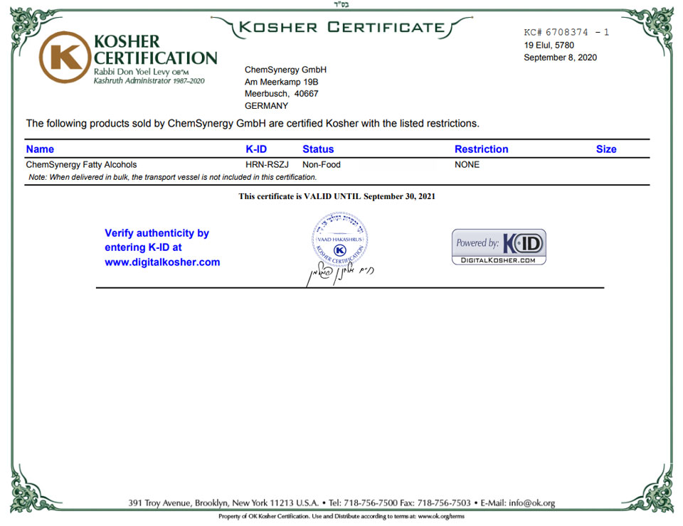 ChemSynergy-Fatty-Alcohols-Kosher-Certificate