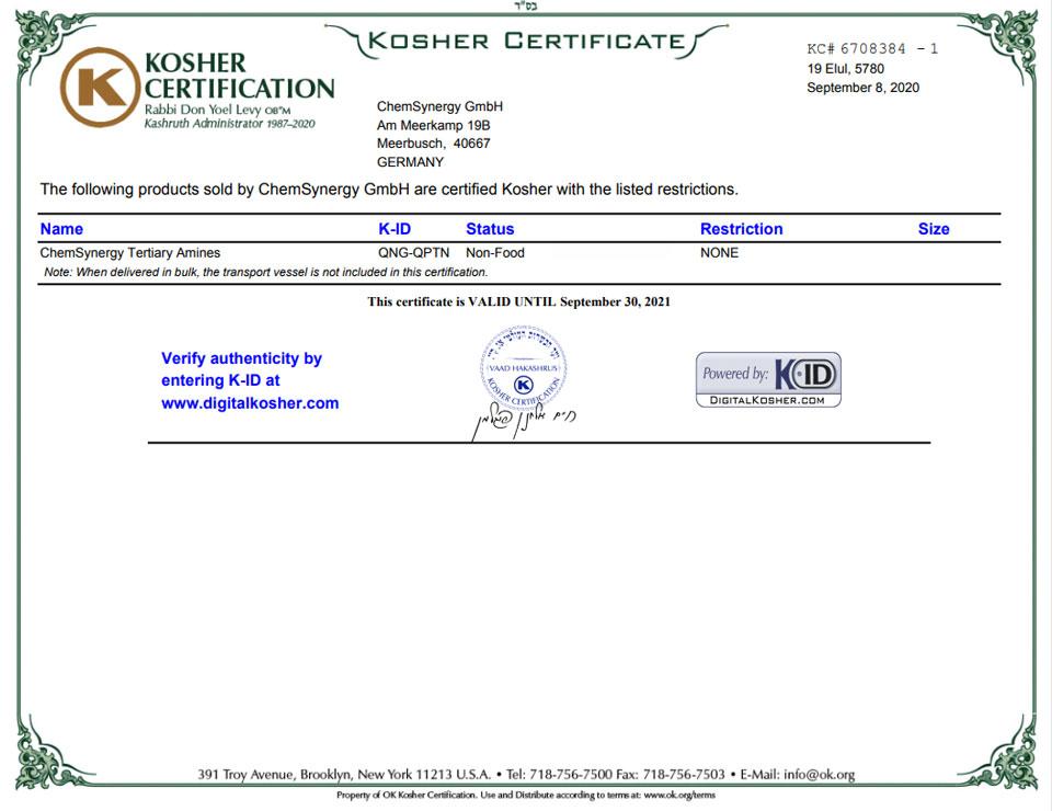 ChemSynergy-Tertiary-Amines-Kosher-Certificate