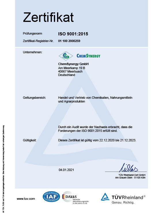 ChemSynergy GmbH ISO 9001 Zertifikat