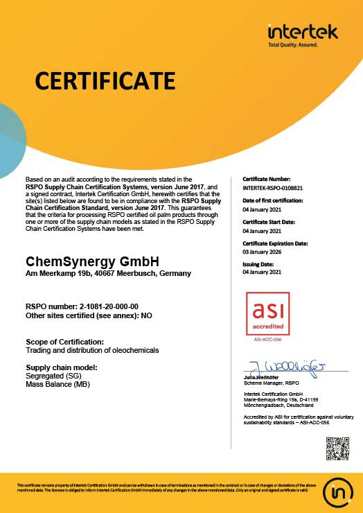 RSPO-License-ChemSynergy-GmbH